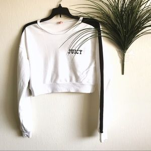 Juice Couture White Crop Long Sleeve Top